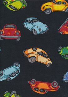 Novelty Fabric - Multi Coloured VW Beetles On Black