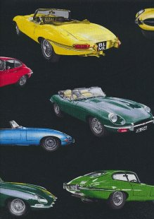 Novelty Fabric - Multi Coloured Classic Cars On Black