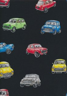 Novelty Fabric - Multi Coloured Minis On Black