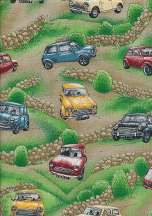 Novelty Fabric - Country Road Scene With Minis