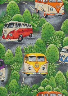 Novelty Fabric - VW Camper Vans & Trees