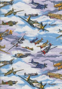 Novelty Fabric - Classic Fighter Planes In The Sky