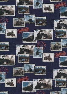 Novelty Fabric - Classic Train Stamps On Blue