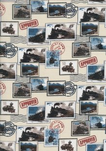 Novelty Fabric - Classic Train Stamps On Cream