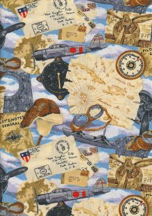 Novelty Fabric - Classic Fighter Planes & Maps In Clouds