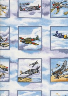 Novelty Fabric - Classic Fighter Planes In Squares On Clouds