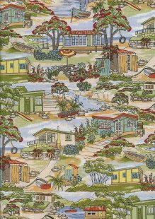 Novelty Fabric - Holiday Homes By The Sea