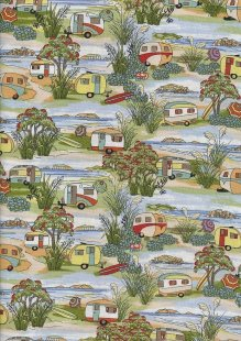 Novelty Fabric - Caravans By The Sea