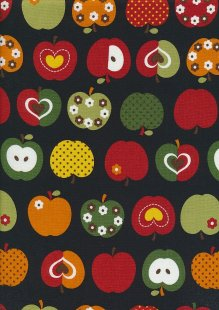 Novelty Fabric - Apples On Black