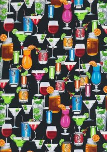 Novelty Fabric - Cocktails & Wine On Black
