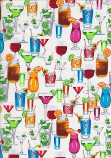 Novelty Fabric - Cocktails & Wine On White