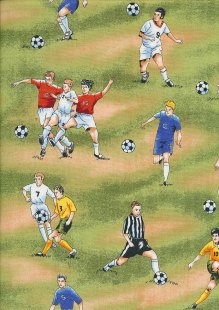 Novelty Fabric - Footballs & Footballers On Grass