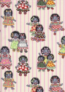 Novelty Fabric - Golliwogs & Pink Stripes On Cream