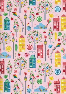 Novelty Fabric - Houses, Lamposts And Trees On Pink