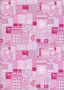 Novelty Fabric - Hearts, Love & Ribbons On Pink