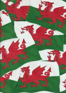 Novelty Fabric - Welsh Flags