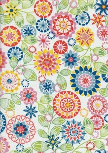 Novelty Fabric - Multi Coloured Stencil Flowers