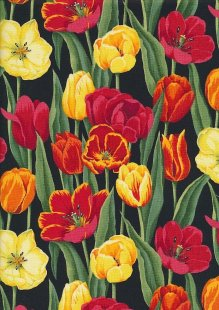 Novelty Fabric - Orange, Red & Yellow Tulips On Black