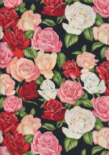 Novelty Fabric - Red, Pink & White Roses On Black