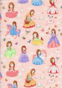 Novelty Fabric - Princesses, Rabbits, Butterflies & Horses On Pink
