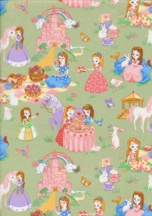 Novelty Fabric - Princesses Teaparty On Green