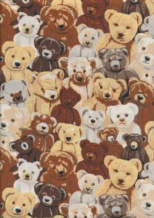 Novelty Fabric - Classic Teddy Bears Huddled