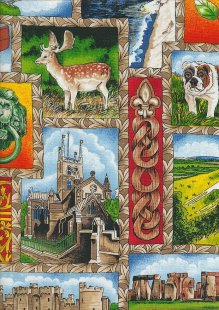 Novelty Fabric - Stone Henge, Cathedrals, Castles And Dogs
