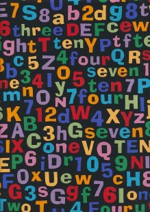 Novelty Fabric - Letters And Numbers On Black