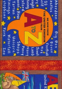 Novelty Fabric - The United Kingdom From A - Z Panel