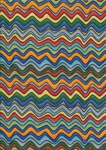 Novelty Fabric - Multicoloured Squiggly Lines