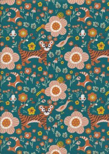Paintbrush Studio - Tiger Garden Garden Tigers Teal 21102