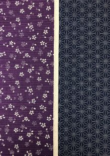 Sevenberry Double Sided Japanese Fabric - Cotton Linen Mix  Pressed Flower Purple & Dotted Flower Navy