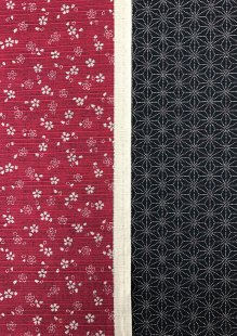 Sevenberry Double Sided Japanese Fabric - Cotton Linen Mix  Pressed Flower Red & Dotted Flower Black