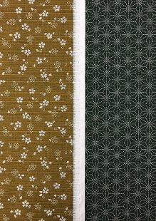 Sevenberry Double Sided Japanese Fabric - Cotton Linen Mix  Pressed Flower Mustard & Dotted Flower Green