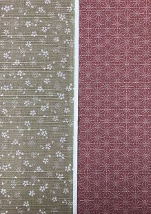 Sevenberry Double Sided Japanese Fabric - Cotton Linen Mix  Pressed Flower Taupe & Dotted Flower Pink