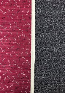 Sevenberry Double Sided Japanese Fabric - Cotton Linen Mix  Dragonfly Red & Dots Black