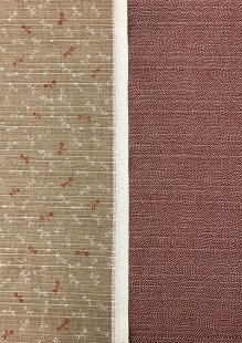 Sevenberry Double Sided Japanese Fabric - Cotton Linen Mix  Dragonfly Taupe & Dots Pink
