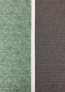 Sevenberry Double Sided Japanese Fabric - Cotton Linen Mix  Dragonflt Green & Dots Brown