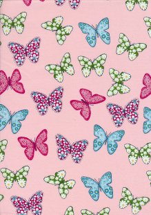 Fabric Freedom - Quality Cotton Print Pink Butterfly