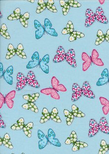 Fabric Freedom - Quality Cotton Print Blue Butterfly