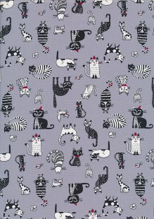 Rose & Hubble - Quality Cotton Print CP-0859 Grey Cats