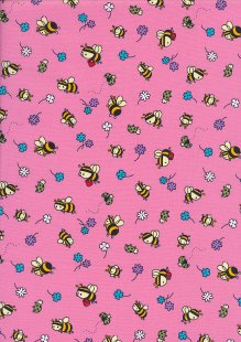Rose & Hubble - Quality Cotton Print CP-0881 Pink Bees