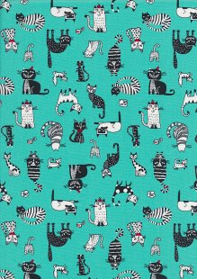 Rose & Hubble - Quality Cotton Print CP-0859 Aqua Cats