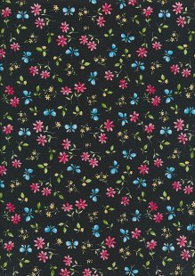Rose & Hubble - Quality Cotton Print CP-0869 Black Butterfly