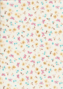 Rose & Hubble - Quality Cotton Print CP-0869 Ivory Butterfly