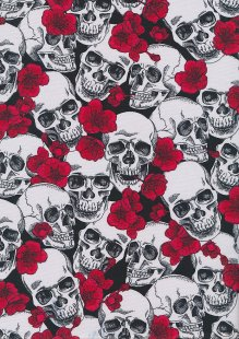 Rose & Hubble - Quality Cotton Print CP-0763 Red/Black Skulls