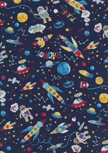 Rose & Hubble - Quality Cotton Print CP-0846 Navy Rockets, Astronauts, Planets & Aliens
