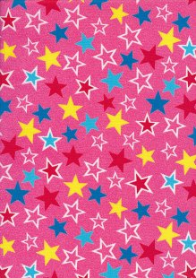 Rose & Hubble - Quality Cotton Print CP-0882 Coral Pink Stars