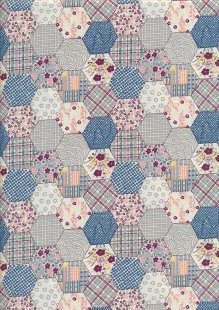 Quality Cotton Print - Navy Hexagon Patchwork