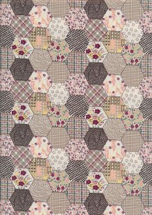 Quality Cotton Print - Brown Hexagon Patchwork